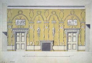 Проект отделки зелёной столовой в Екатерининском дворце.