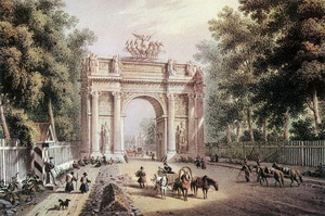 Деревянные Нарвские триумфальные ворота 1814 г., Санкт-Петербург, Россия.
