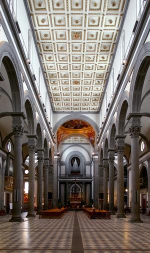Церковь Санто Спирито, интерьер 1436-1446гг.