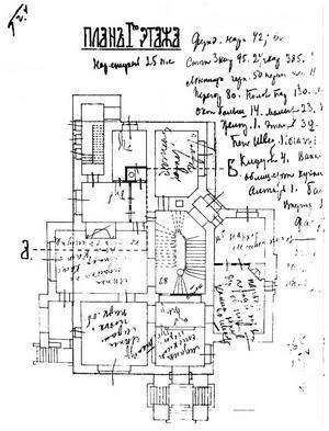 Особняк Рябушинского, План первого этажа, 1900-1903 гг.