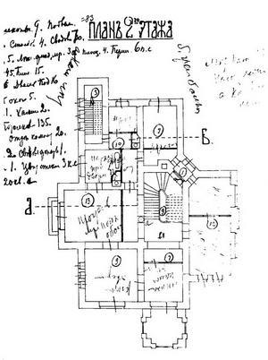 Особняк Рябушинского, План второго этажа, 1900-1903 гг.