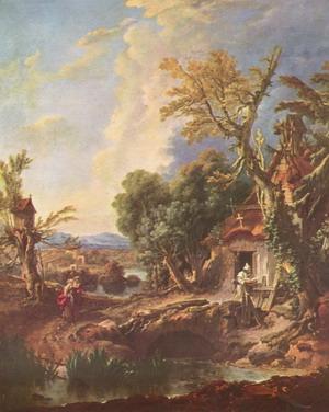 Пейзаж с отшельником, 1742 г., Музей изобразительных искусств им. А. С. Пушкина, Москва.