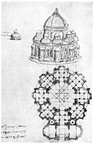Эскиз центрического купольного здания.