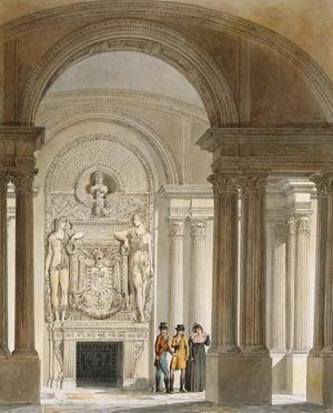 Интерьер зала, Лувр, Париж.