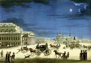 Перестройка и оформление Большого театра 1802-1805 гг., Санкт-Петербург, Россия.