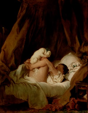 Девочка в постели, играющая с собачкой, Мюнхен, Старая пинакотека.