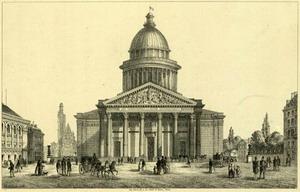 Здание Пантеона 1757-90 гг. (тогда - церковь Святой Женевьевы) в Париже, Франция.
